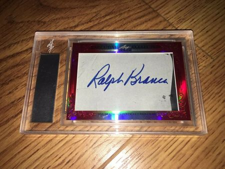 Bobby Thomson and Ralph Branca 2015 Leaf Masterpiece Cut Signature certified autograph card 1/1 JSA