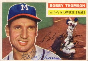 Bobby Thomson autographed Milwaukee Braves 1956 Topps card