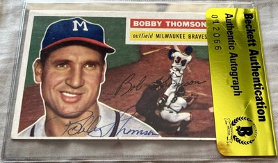 Bobby Thomson autographed Milwaukee Braves 1956 Topps card (BAS authenticated)