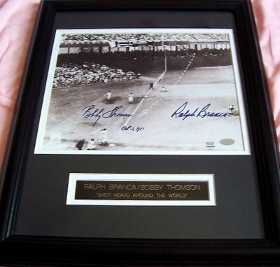 Bobby Thomson & Ralph Branca autographed Shot Heard Round the World 8x10 photo matted & framed