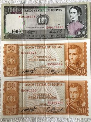 Bolivia lot of 3 1982 banknotes (2 50 pesos and 1000 pesos)