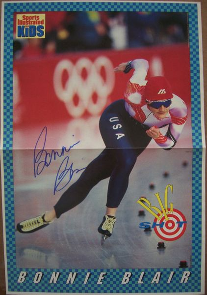 Bonnie Blair autographed Sports Illustrated for Kids mini speed skating poster
