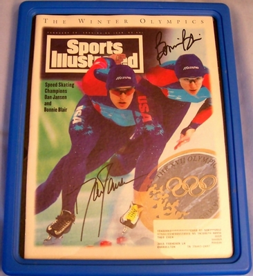 Bonnie Blair and Dan Jansen autographed speed skating 1994 Sports Illustrated magazine framed