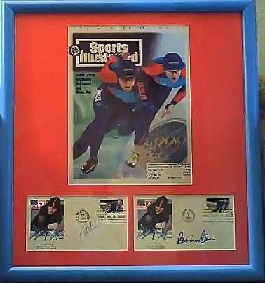 Bonnie Blair and Dan Jansen autographed cachets framed with 1994 Sports Illustrated speed skating cover