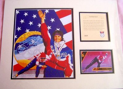 Bonnie Blair 1994 Olympic Gold Medal Speed Skater 11x14 inch matted art print