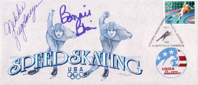 Bonnie Blair & Nikki Ziegelmeyer autographed 1992 Olympic Speed Skating cachet