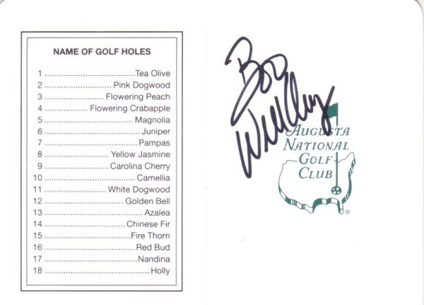 Boo Weekley autographed Augusta National Masters scorecard