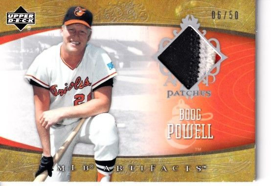 Boog Powell Baltimore Orioles 2005 Upper Deck MLB Artifacts game jersey patch card AP-BP #06/50