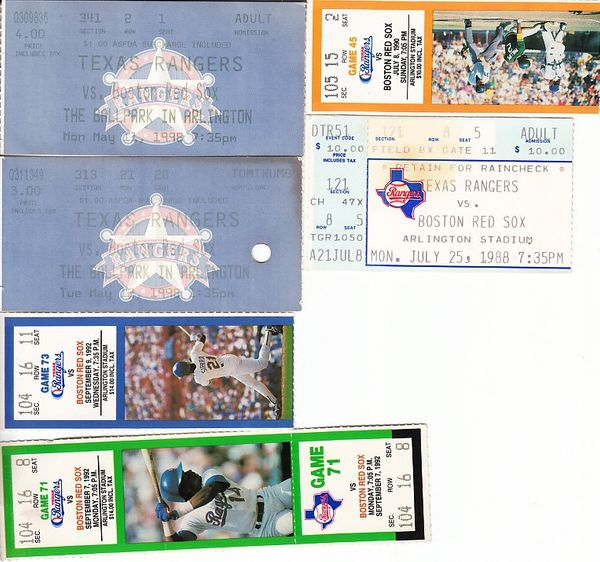 Boston Red Sox at Texas Rangers lot of 6 vintage game tickets