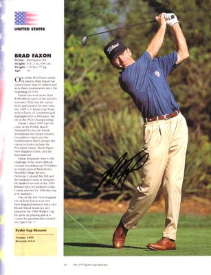 Brad Faxon autographed full page golf magazine photo