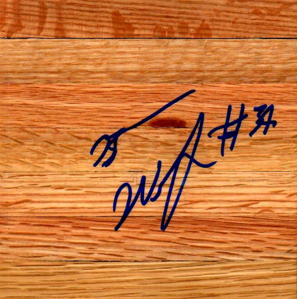 Brandan Wright autographed basketball hardwood floor