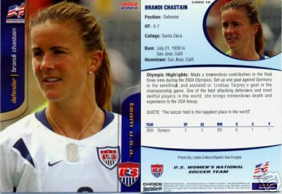 Brandi Chastain 2004 U.S. Women's National Team card