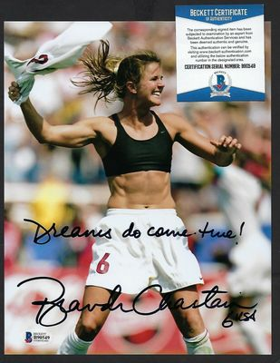 Brandi Chastain autographed 1999 U.S. Women's World Cup celebration 8x10 photo inscribed Dreams do come true! (BAS)