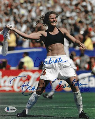 Brandi Chastain autographed 1999 U.S. Women's World Cup celebration 8x10 photo inscribed Celebrate! (BAS)