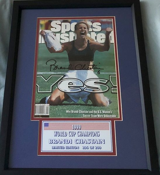Brandi Chastain autographed 1999 U.S. Women's World Cup celebration Sports Illustrated cover matted and framed #236/299 (TSC)