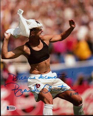 Brandi Chastain autographed 1999 U.S. Women's World Cup 8x10 celebration photo inscribed Dreams do come true! (BAS authenticated)