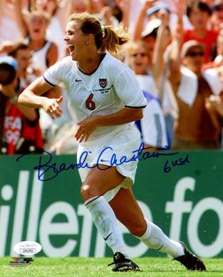 Brandi Chastain autographed 1999 Women's World Cup 8x10 celebration photo (JSA)