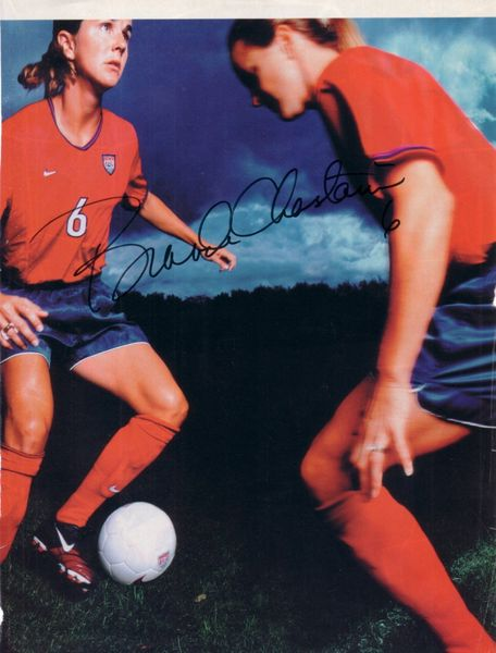 Brandi Chastain autographed US Soccer full page magazine photo