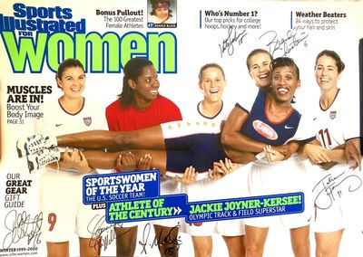 Brandi Chastain Julie Foudy Shannon MacMillan Tiffeny Milbrett Kate Sobrero autographed 1999 SI for Women poster