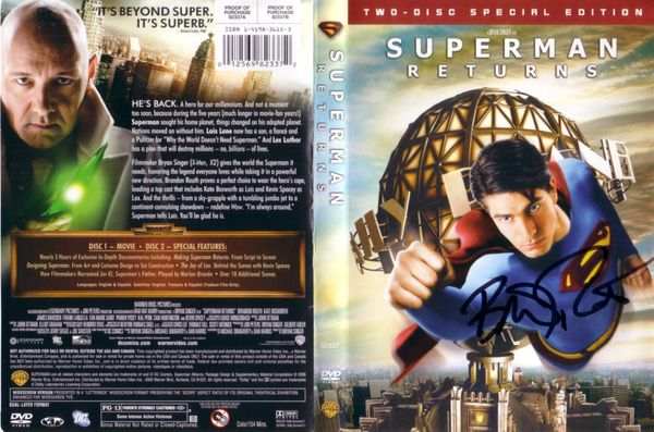 Brandon Routh autographed Superman Returns movie DVD insert cover