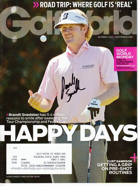 Brandt Snedeker autographed 2012 Golf World magazine