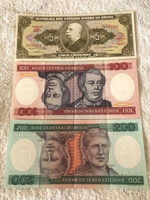Brazil lot of 3 different 1964 and 1984 banknotes (5 100 200 cruzeiros)