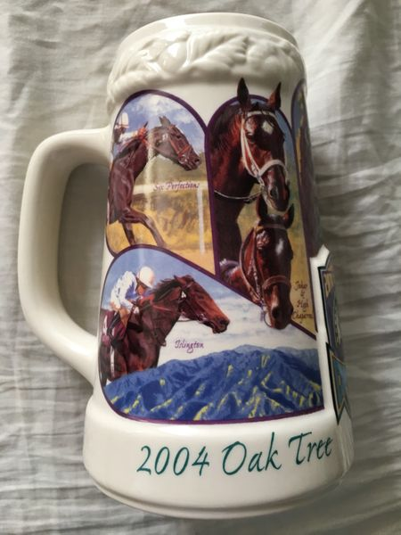 Breeders Cup 20th Anniversary 2004 Oak Tree Santa Anita ceramic stein