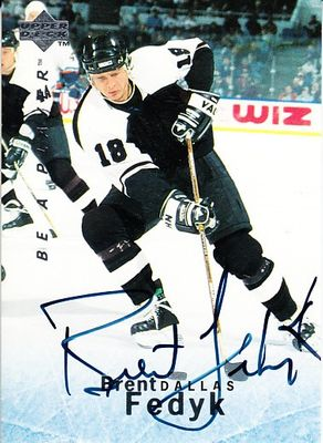 Brent Fedyk certified autograph Dallas Stars 1995 Be A Player card