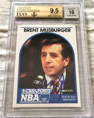 Brent Musberger autographed 1989-90 Hoops Announcers card BGS graded 9.5 (BAS authenticated and slabbed)