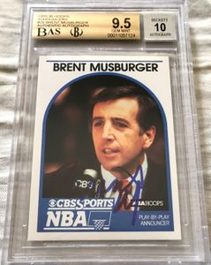 Brent Musberger autographed 1989-90 Hoops Announcers card (Beckett Authenticated and BGS graded 9.5)