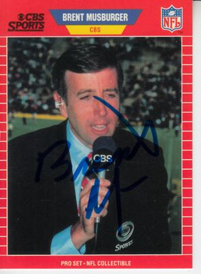 Brent Musberger autographed 1989 NFL Pro Set Announcers football card