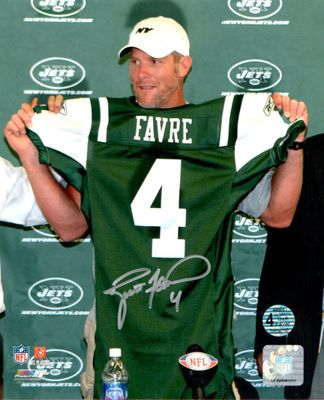 Brett Favre autographed New York Jets 2008 press conference 8x10 photo
