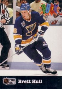 Brett Hull Blues 1991-92 Pro Set Puck card #24