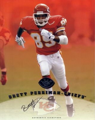 Brett Perriman certified autograph Kansas City Chiefs 1997 Leaf 8x10 photo card