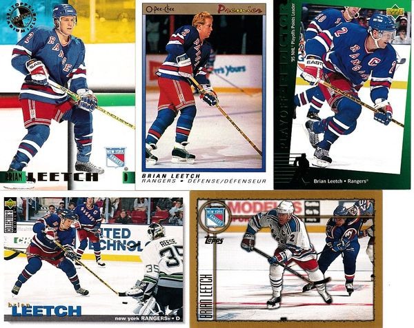 5 Brian Leetch New York Rangers cards 1994-95 Upper Deck Playoff Predictor 1995 Stadium Club Members Only