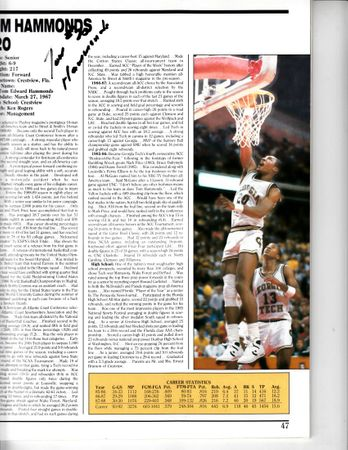 Brian Oliver and Tom Hammonds autographed 1989 Georgia Tech Yellow Jackets basketball program