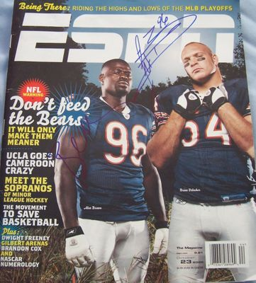 Brian Urlacher & Alex Brown autographed Chicago Bears 2006 ESPN magazine