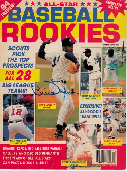 Brien Taylor autographed 1994 Baseball Rookies magazine cover