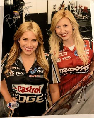 Brittany Force and Courtney Force autographed NHRA 8x10 photo (BAS authenticated)