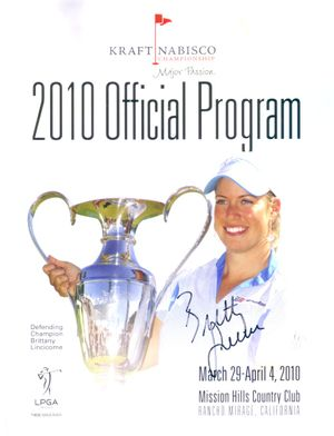 Brittany Lincicome autographed 2010 LPGA Kraft Nabisco Championship golf program