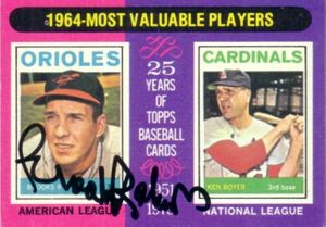 Brooks Robinson autographed Baltimore Orioles 1975 Topps card