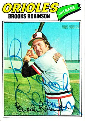 Brooks Robinson autographed Baltimore Orioles 1977 Topps card