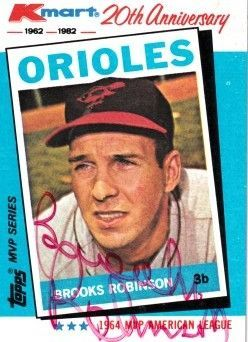 Brooks Robinson autographed Baltimore Orioles 1982 Topps Kmart MVP series card