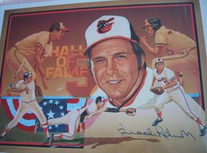 Brooks Robinson autographed Baltimore Orioles 1983 Hall of Fame poster