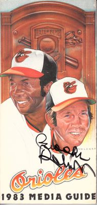 Brooks Robinson autographed Baltimore Orioles 1983 media guide