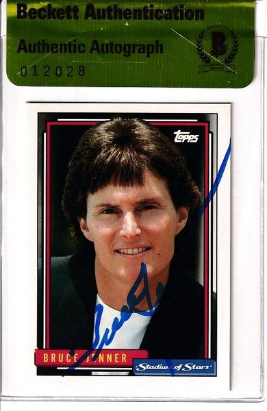 Bruce Jenner autographed 1992 Topps Stadium of Stars promo card (BAS authenticated)