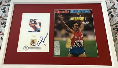 Bruce Jenner autographed 1996 US Olympic USPS First Day proof card framed with 1976 Sports Illustrated cover JSA
