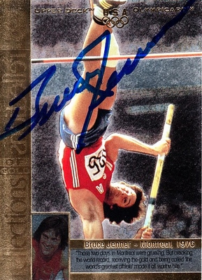 Bruce Jenner autographed U.S. Olympic 1996 Upper Deck Reflections of Gold insert card