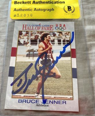 Bruce Jenner autographed 1991 U.S. Olympic Hall of Fame card (BAS authenticated)