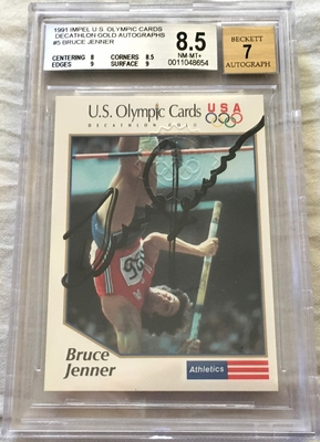 Bruce Jenner certified autograph 1991 Impel U.S. Olympic card graded BGS 8.5